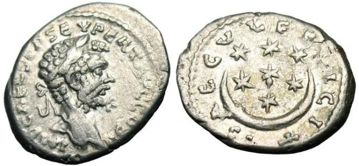 """Ancient Coins - Septimius Severus, AR Denarius """"Crescent & 7 Stars"""" RIC 417 Scarce"""