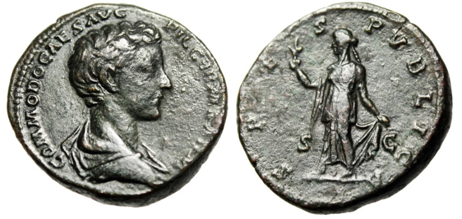 "Ancient Coins - Commodus as Caesar AE As ""SPES PVBLICA Spes, Flower"" Rome RIC 1544 Scarce VF"