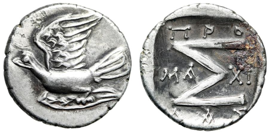 "Ancient Coins - Sikyonia, Sikyon AR Triobol ""Dove Flying & Sigma"" Promachidas Magistrate EF"