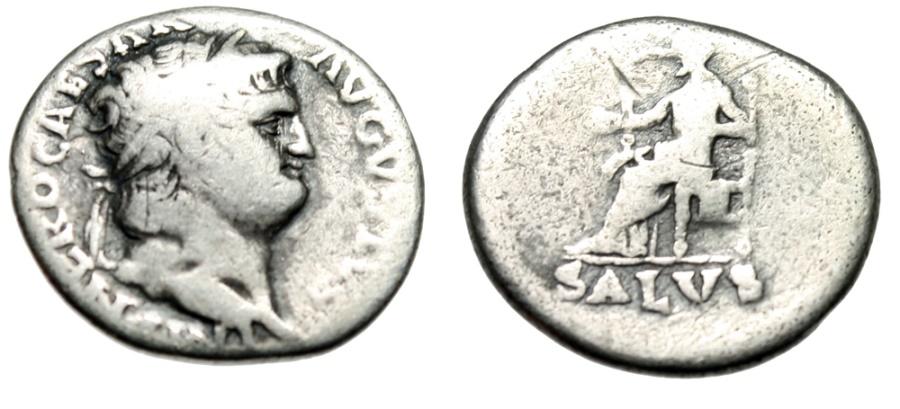 "Ancient Coins - Nero Silver Denarius ""SALVS Salus Enthroned, Salvation"" Rome 66-67 AD RIC 67"