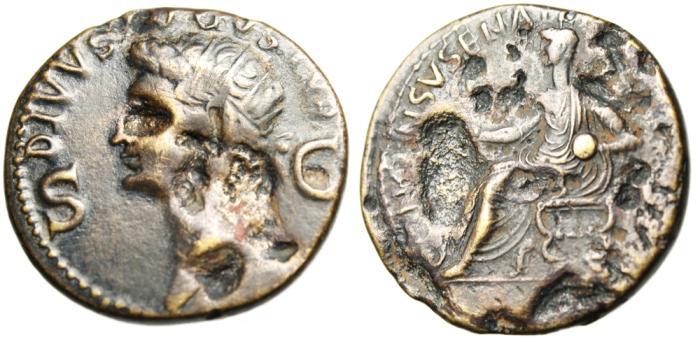 "Ancient Coins - Divvs Augustus AE Dupondius ""S-C Radiate, Emperor in Curule Chair"" RIC 56 Caligula"