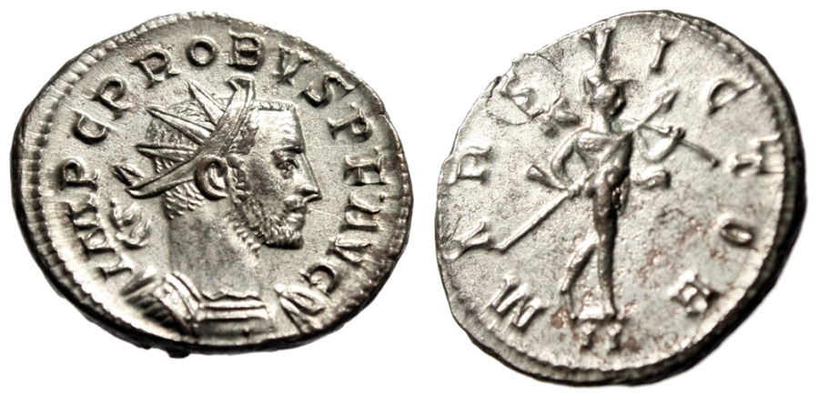 """Ancient Coins - Probus Silvered Antoninianus """"MARS VICTOR Mars, Spear & Trophy"""" Lyons RIC 84 EF"""