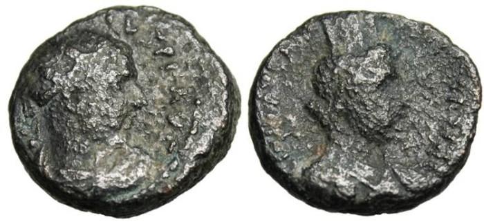 """Ancient Coins - Herennius Etruscus """"Bust of Tyche"""" Judaea, Caesarea Maritima Scarce"""