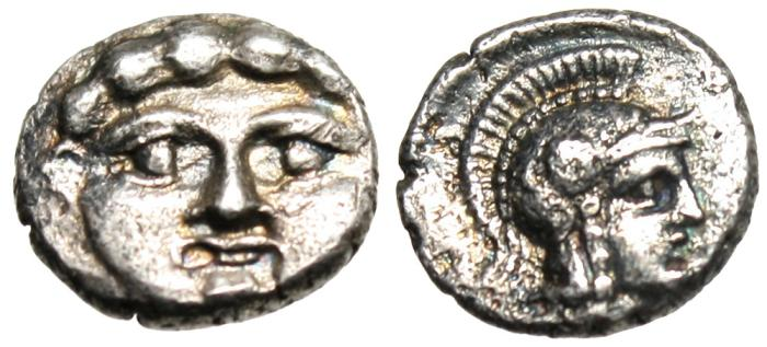 "Ancient Coins - Pisidia, Selge AR Trihemiobol ""Gorgon Facing & Athena Helmeted Right"" Rare EF"