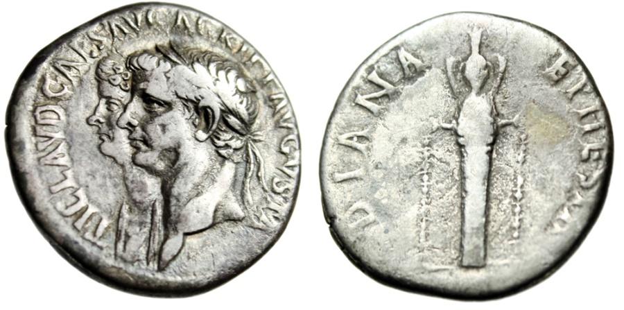 """Ancient Coins - Claudius I & Agrippina II Cistophoric Tetradrachm """"Jugate & Ephesian Artemis"""" Ephesus Rare"""
