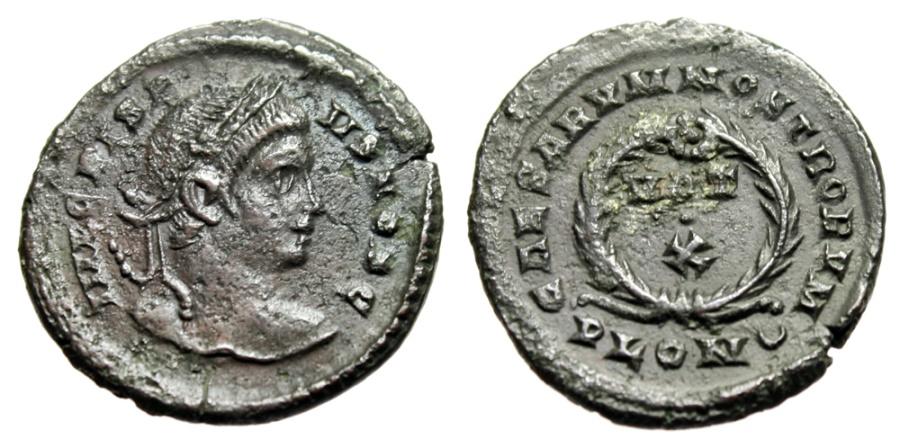 """Ancient Coins - Crispus Caesar AE20 """"CAESARVM NOSTRORVM Wreath, VOT X"""" London RIC 291"""