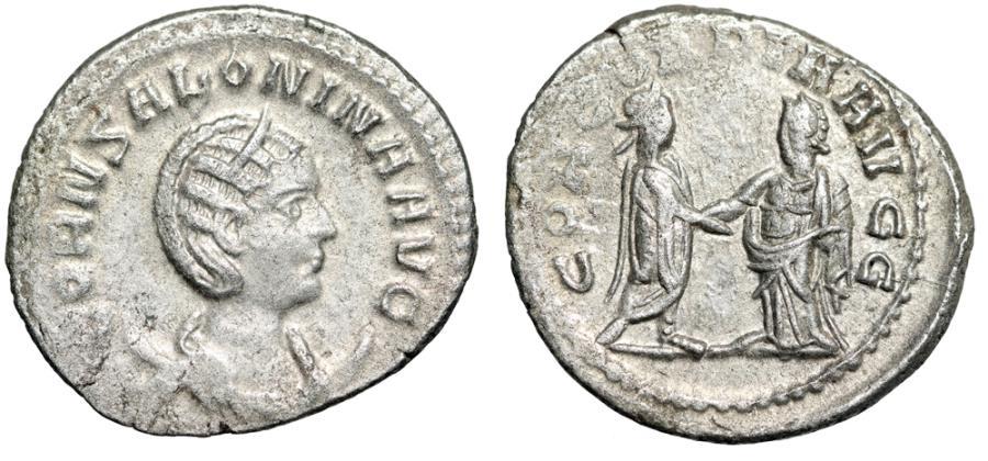 """Ancient Coins - Salonina AR Antoninianus """"CONCORDIA AVGG Emperor & Empress"""" Antioch gVF"""
