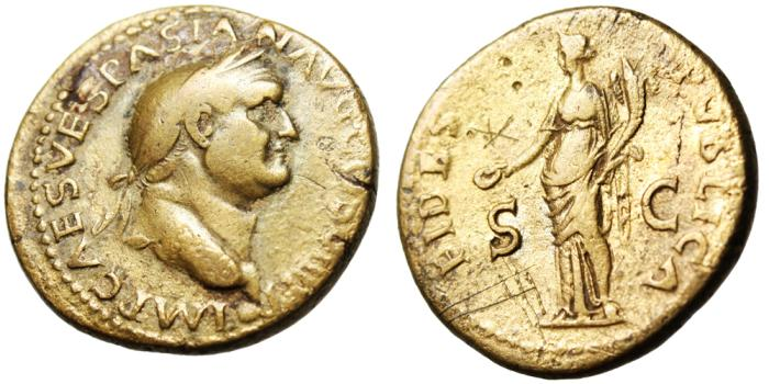 "Ancient Coins - Vespasian Orichalcum Dupondius ""FIDES PVBLICA Fides"" Lugdunum RIC 1210"