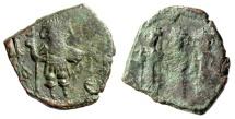 """Ancient Coins - Constans II AE Follis """"Emperor & Three Sons Facing"""" Constantinople SB 1011"""