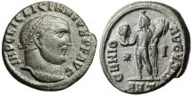 "Ancient Coins - Licinius I AE Follis ""Scarce LICINNIVS obv Legends, Genius Serapis Head"" VF"