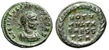 "Ancient Coins - Licinius II AE19 ""VOT MVLT X CAESS TSA in Laurel Wreath"" Thessalonica RIC 41"