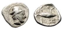 "Ancient Coins - Mysia, Kyzikos AR Hemiobol ""Hermes, Winged Helmet & Tunny Fish"" 450-400 BC Rare"