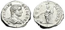"Ancient Coins - Geta Silver Denarius ""PROVID DEORVM Providentia"" Rome 203-208 AD RIC 51 Good VF"