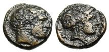 "Ancient Coins - Thessaly, Phalanna AE18 ""Ares & Nymph Phalanna in Sakkos"" Scarce BMC 4"