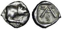 "Ancient Coins - Argolis, Argos AR Triobol (Hemidrachm) ""Wolf & Large A, Eagle on Heta"" Good VF"