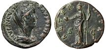 "Ancient Coins - Diva Faustina II Junior AE As ""Veiled & Providentia, Globe"" RIC 1163a EF"