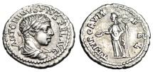"""Ancient Coins - Elagabalus Silver Denarius """"TEMPORVM FEL Felicitas, Caduceus"""" Antioch RIC 201 VF"""