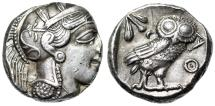 "Ancient Coins - Attica, Athens Old Style AR Tetradrachm ""Athena & Owl Facing"" Near EF Nice Tone"