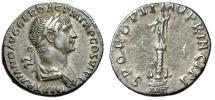 """Ancient Coins - Trajan AR Denarius """"Trajan's Triumphal Column, Statue"""" 113-114 AD RIC 292 aEF"""