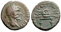 "Ancient Coins - Septimius Severus AE22 ""Thunderbolt on Stool"" Syri a Seleukia Pieria Mint Rare"