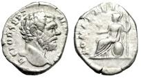 "Ancient Coins - Clodius Albinus Silver Denarius ""ROMAE AETERNAE Roma Seated"" RIC 11b About VF"
