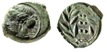 "Ancient Coins - Sicily, Himera AE Hemilitron ""Nymph Left & Six Pellets in Wreath"" 420-408 BC EF"