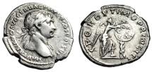 "Ancient Coins - Trajan Silver Denarius ""Victory DACICA Shield Palm"" Rome 111 AD RIC 234 Rare gVF"