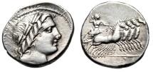 """Ancient Coins - Roman Republic Anonymous AR Denarius """"Apollo & Jupiter in Quadriga"""" Near EF"""