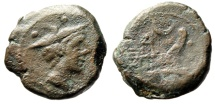 "Ancient Coins - Roman Republic AE Sextans ""Mercury, Winged Petasus & Prow, Crescent"" Very Rare"