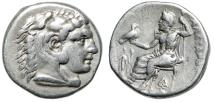 "Ancient Coins - Alexander III The Great AR Drachm ""Herakles & Zeus, Demeter, Torches"" Lampsakos"