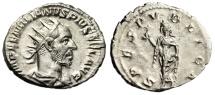 """Aemilian AR Antoninianus """"SPES PVBLICA Spes, Flower"""" 253AD RIC 10 Scarce Good EF"""