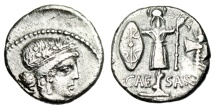 "Ancient Coins - Julius Caesar Silver Denarius ""Gallic Trophy, Shield & Axe"" 48 BC Choice Near EF"