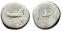 "Ancient Coins - Marc Antony Legionary Silver Denarius ""Galley, Aquila Signa"" Legion XX Twenty"