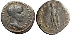 "Ancient Coins - Gordian III AE22 ""Hermes, Caduceus, Purse, Cock Feet"" Tharce, Deultum Very Rare"