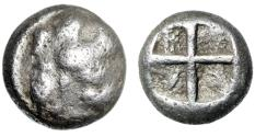 "Ancient Coins - Ionia, Chios AR Hemidrachm ""Sphinx, Grapes & Amphora / Quadripartite Incuse"""