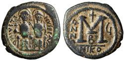 "Ancient Coins - Justin II AE Follis ""Seated with Sophia"" Nicomedia Mint RY 5 569/70 AD"