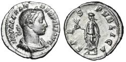 "Ancient Coins - Severus Alexander AR Denarius ""SPES PVBLICA Spes, Hope With Flower"" RIC 254 gVF"