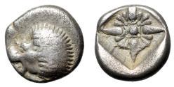 "Ancient Coins - Ionia, Miletos AR Diobol ""Forepart Lion & Stellate Design"" Good Fine"
