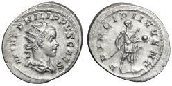 "Ancient Coins - Philip II as Caesar AR Antoninianus 244-246 AD ""Prince of Youth"" RIC 126 EF"