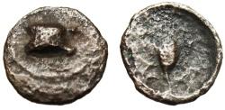 "Ancient Coins - Bithynia, Kalchedon AE11 ""Astragalos (Knucklebone) & Grain Head"" VF"