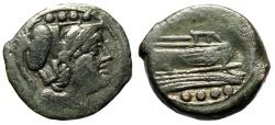 "Ancient Coins - Second Punic War Overstrike Series Triens ""Minvera & Prow"" Half-Weight 7.19g VF"
