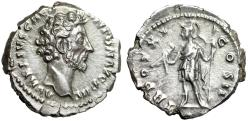 """Ancient Coins - Marcus Aurelius AR Denarius """"Virtus, Spear & Parazonium"""" Rome RIC 473 EF"""