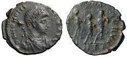 """Ancient Coins - Honorius """"Three Emperors, Arcadius & Theodosius II"""" Antioch RIC 153 Good VF"""