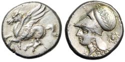"Ancient Coins - Corinthia, Corinth AR Stater ""Pegasus Flying & Athena, Gorgon Facing Aegis"" nEF"