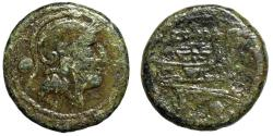 "Ancient Coins - Roman Republic Anonymous AE Uncia ""Attic Helmeted Roma & Prow"" 215-212 BC"