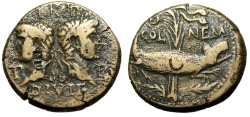 "Ancient Coins - Augustus & Agrippa ""Busts & Crocodile Chained to Palm"" Gaul Nemausus aVF"