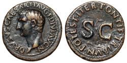"Ancient Coins - Drusus (Son of Tiberius) AE As ""Bare Portrait & Large SC"" Rome 22-23 AD VF"