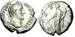"Ancient Coins - Antoninus Pius Silver Denarius ""Fortuna With Rudder"" Rome 149 AD RIC 179 VF"