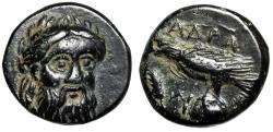 "Ancient Coins - Mysia, Adramyteion ""Zeus Facing & Eagle on Rock"" Rare Good VF"