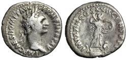 "Ancient Coins - Domitian AR Denarius ""Minerva Fighting, Owl Beside"" Rome RIC 788 Fine"